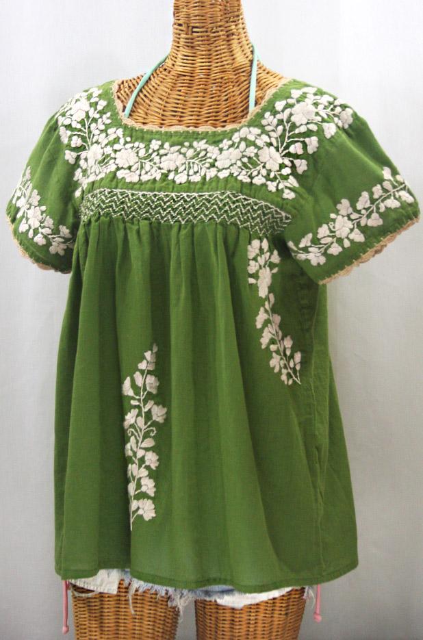 """""""La Marina Corta"""" Embroidered Mexican Peasant Blouse - Fern + Cream"""