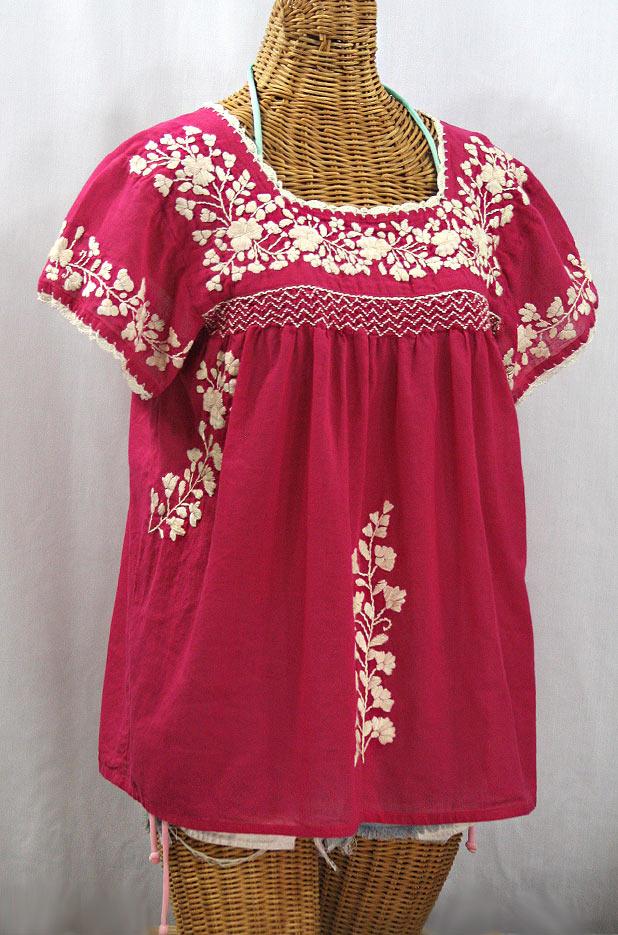 """""""La Marina Corta"""" Embroidered Mexican Peasant Blouse - Raspberry + Cream"""