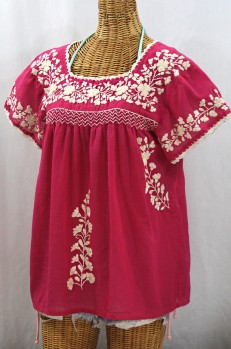 """La Marina Corta"" Embroidered Mexican Peasant Blouse - Raspberry + Cream"