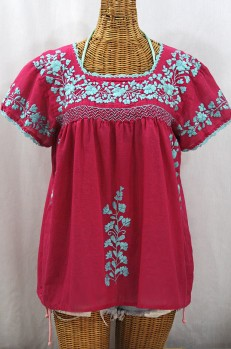 """La Marina Corta"" Embroidered Mexican Peasant Blouse - Raspberry + Light Blue"