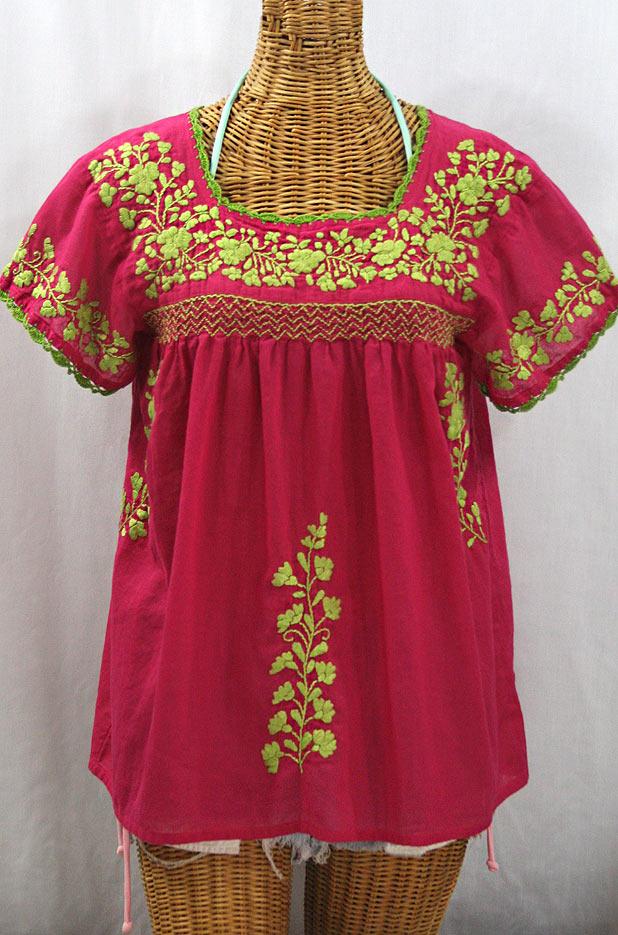 """La Marina Corta"" Embroidered Mexican Peasant Blouse - Raspberry + Lime Green"