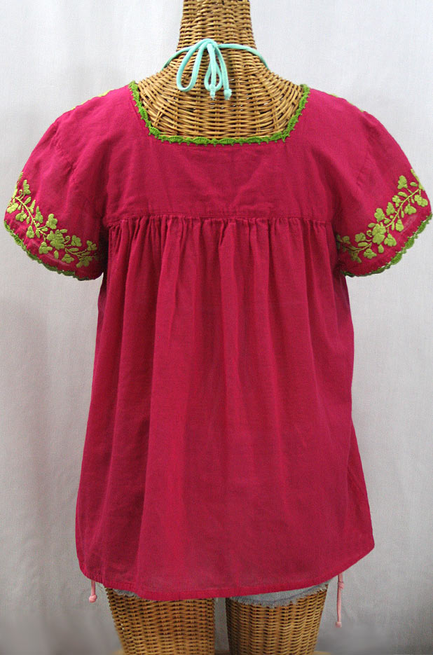 """La Marina Corta"" Embroidered Mexican Peasant Blouse - Raspberry + Lime Green"