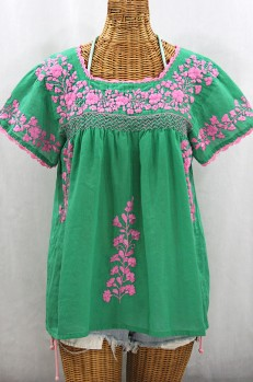 """La Marina Corta"" Embroidered Mexican Peasant Blouse - Green + Pink"
