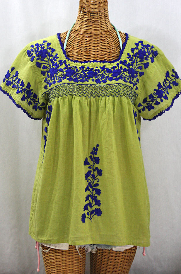 """La Marina Corta"" Embroidered Mexican Peasant Blouse - Moss Green + Blue"