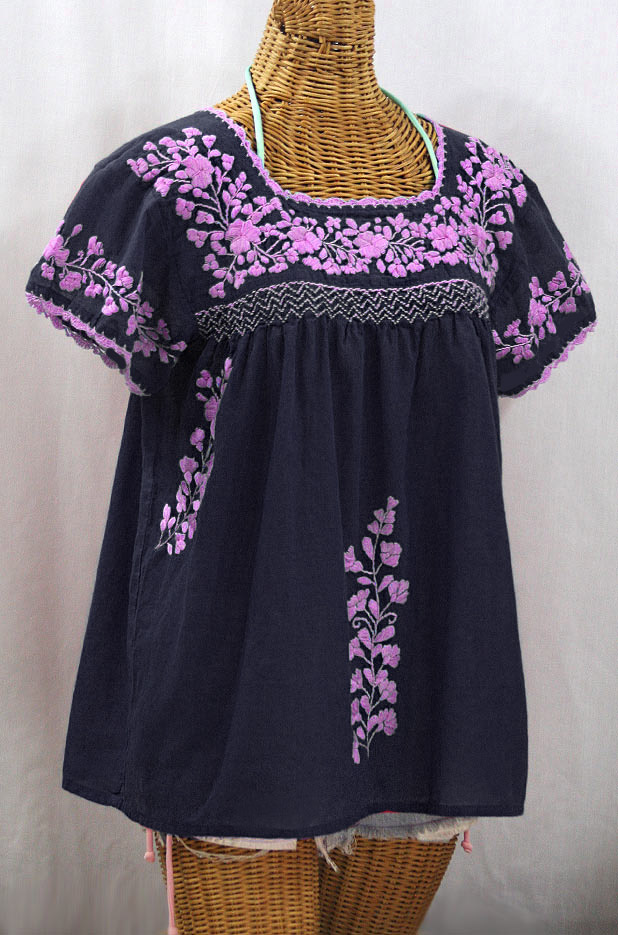 """La Marina Corta"" Embroidered Mexican Peasant Blouse - Navy + Pink"