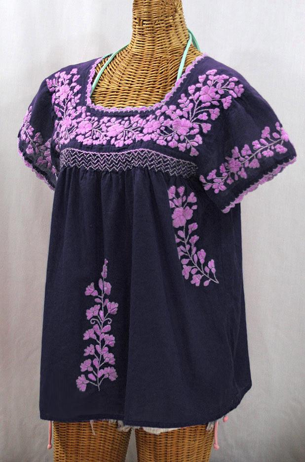 """La Marina Corta"" Embroidered Mexican Peasant Blouse - Navy + Pink"
