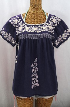 """La Marina Corta"" Embroidered Mexican Peasant Blouse - Navy + Cream"