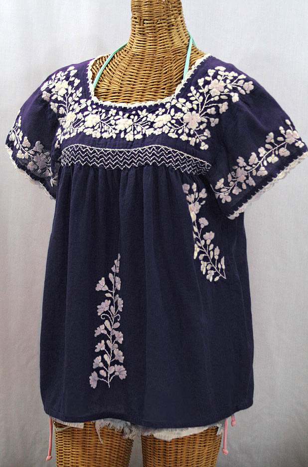"""La Marina Corta"" Embroidered Mexican Peasant Blouse - Navy + Cream"