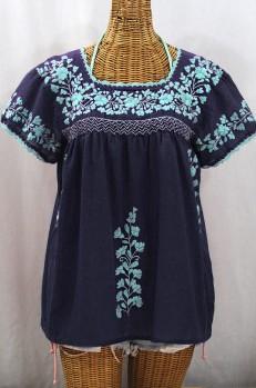 """La Marina Corta"" Embroidered Mexican Peasant Blouse - Navy + Neon Blue"