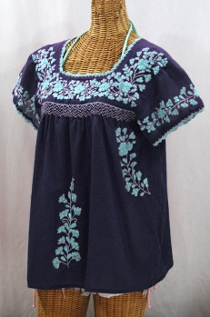 """La Marina Corta"" Embroidered Mexican Peasant Blouse - Navy + Neon Blue"