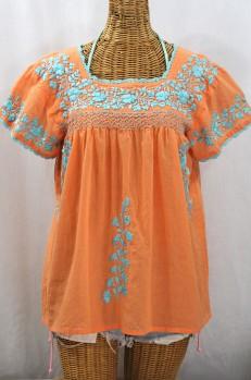 """""""La Marina Corta"""" Embroidered Mexican Peasant Blouse - Orange Cream + Light Blue"""