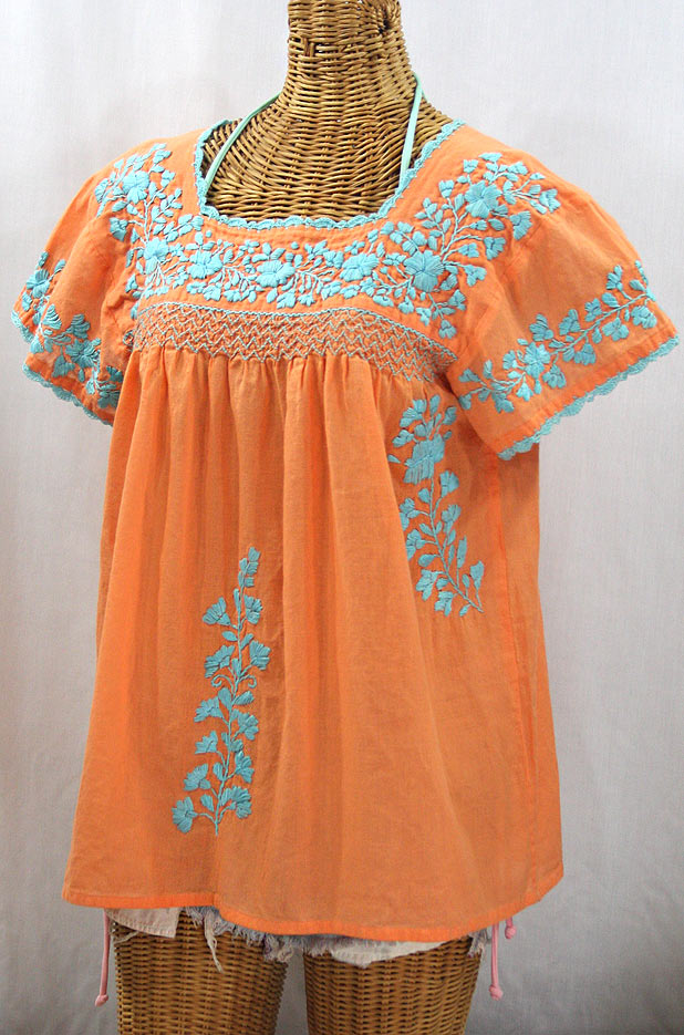 """La Marina Corta"" Embroidered Mexican Peasant Blouse - Orange Cream + Light Blue"