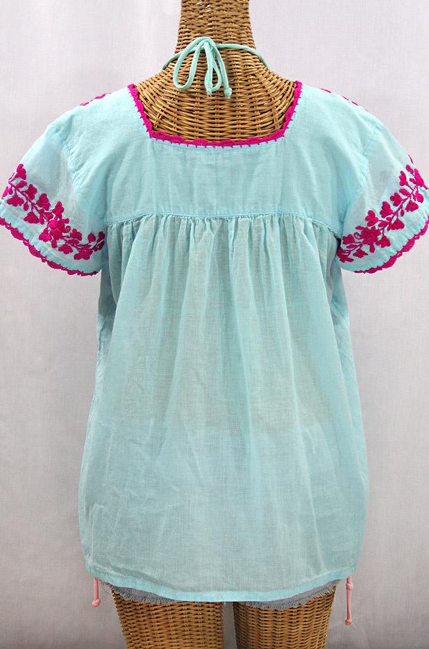 """La Marina Corta"" Embroidered Mexican Peasant Blouse - Pale Blue + Magenta"
