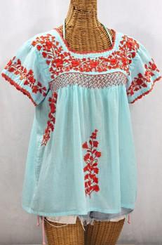 """""""La Marina Corta"""" Embroidered Mexican Peasant Blouse - Pale Blue + Orange"""