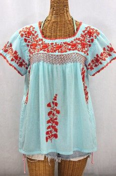 """La Marina Corta"" Embroidered Mexican Peasant Blouse - Pale Blue + Orange"