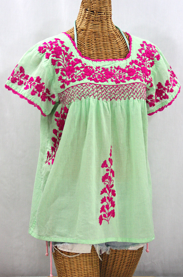 """La Marina Corta"" Embroidered Mexican Peasant Blouse - Pale Green + Magenta"