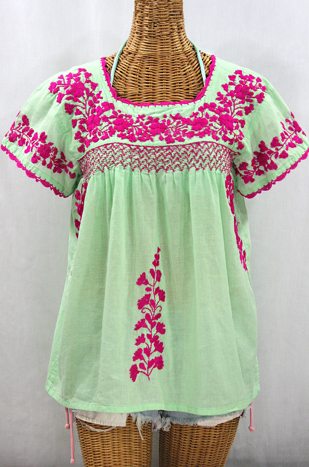 """La Marina Corta"" Embroidered Mexican Peasant Blouse - Pale Green + Magenta"