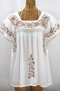 """""""La Marina Corta"""" Embroidered Mexican Peasant Blouse - White + Cocoa Mix"""