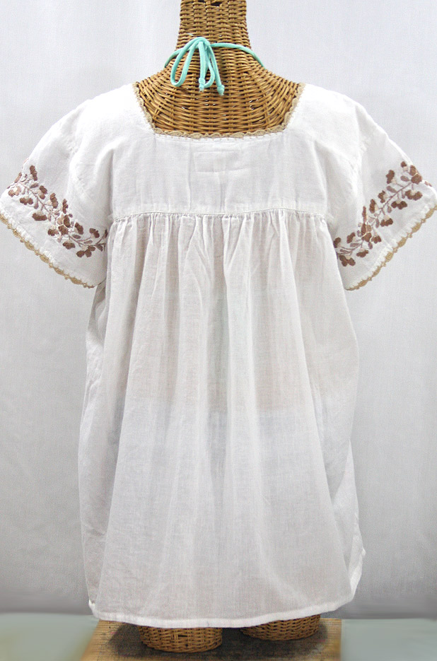 """La Marina Corta"" Embroidered Mexican Peasant Blouse - White + Cocoa Mix"