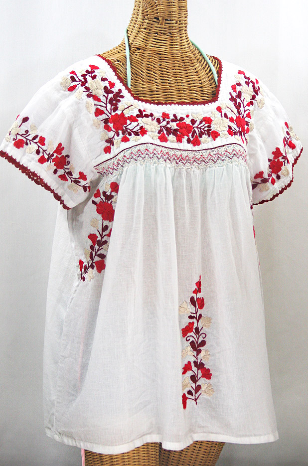 "Final Sale 40% Off -- ""La Marina Corta"" Embroidered Mexican Peasant Blouse - White + Red Mix"