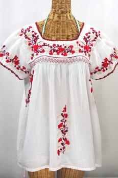 """La Marina Corta"" Embroidered Mexican Peasant Blouse - White + Red Mix"