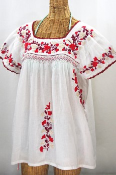 """La Marina Corta"" Embroidered Mexican Peasant Blouse - White + Red Mix"