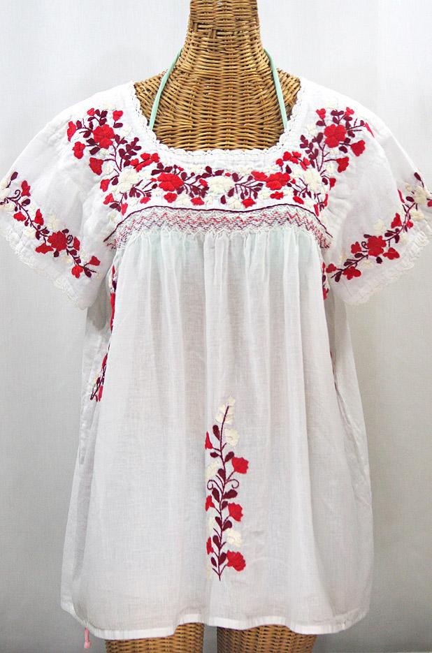 """La Marina Corta"" Embroidered Mexican Peasant Blouse - White + Red Mix + White Crochet"