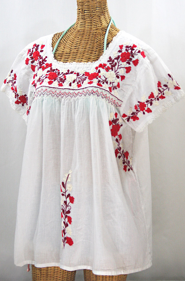 """La Marina Corta"" Embroidered Mexican Peasant Blouse - White + Red Mix + White Crochet"