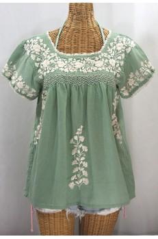 """""""La Marina Corta"""" Embroidered Mexican Peasant Blouse - Sage Green + Cream"""