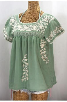 """La Marina Corta"" Embroidered Mexican Peasant Blouse - Sage Green + Cream"