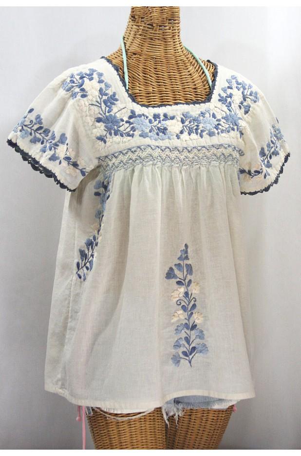 """La Marina Corta"" Embroidered Mexican Peasant Blouse - Off White + Grey Mix"