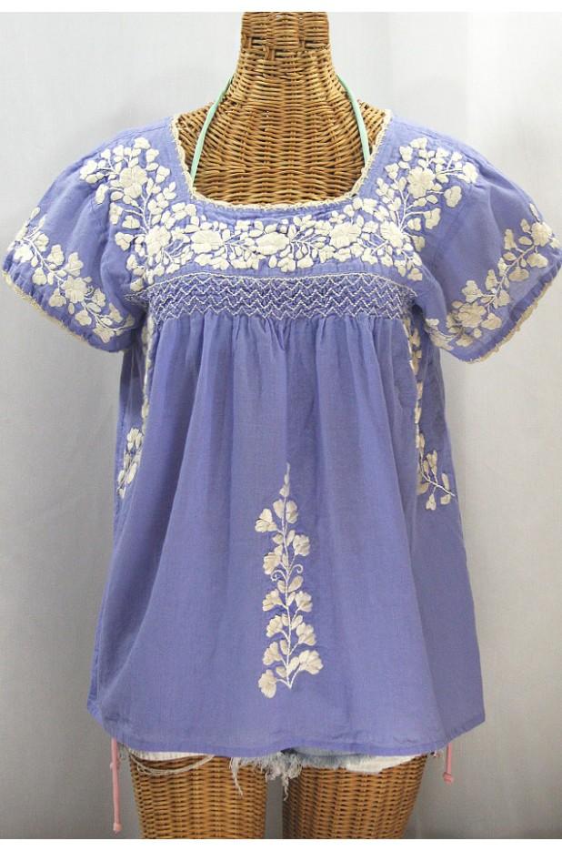 """""""La Marina Corta"""" Embroidered Mexican Peasant Blouse - Periwinkle + Cream"""
