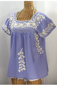 """La Marina Corta"" Embroidered Mexican Peasant Blouse - Periwinkle + Cream"