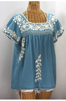 """La Marina Corta"" Embroidered Mexican Peasant Blouse - Pool Blue + Cream"