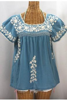 """""""La Marina Corta"""" Embroidered Mexican Peasant Blouse - Pool Blue + Cream"""