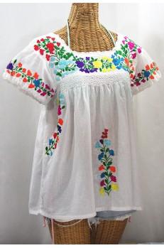 """La Marina Corta"" Embroidered Mexican Peasant Blouse - White + Rainbow Block"