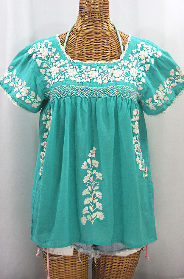 """La Marina Corta"" Embroidered Mexican Peasant Blouse - Mint Green + Cream"
