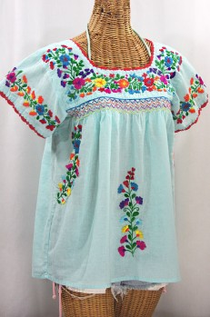 """La Marina Corta"" Embroidered Mexican Peasant Blouse - Pale Blue + Rainbow"