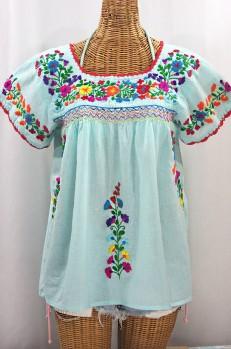 """La Marina Corta"" Embroidered Mexican Peasant Blouse - Pale Blue + Rainbow"