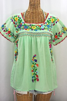 """La Marina Corta"" Embroidered Mexican Peasant Blouse - Pale Green + Rainbow"