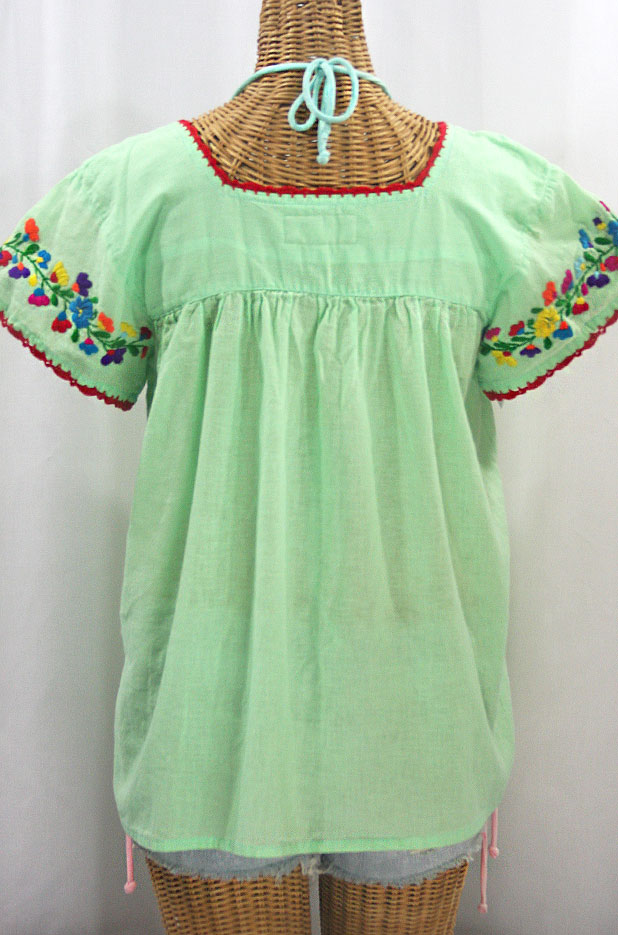 """La Marina Corta"" Embroidered Mexican Peasant Blouse - Pale Green + Rainbow"