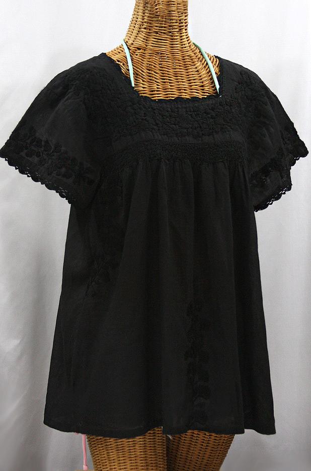 """""""La Marina Corta"""" Embroidered Mexican Peasant Blouse - All Black"""