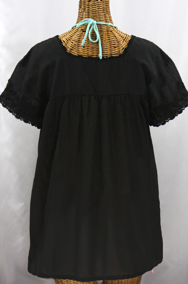 La Marina Corta Embroidered Mexican Peasant Blouse All Black