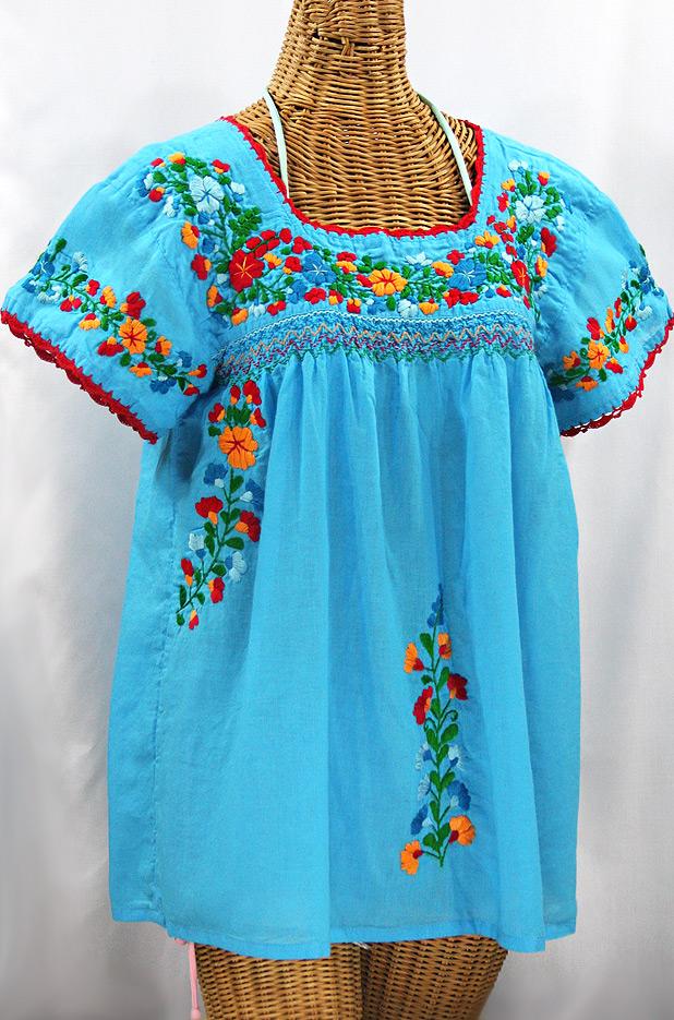 """La Marina Corta"" Embroidered Mexican Peasant Blouse - Aqua + Fiesta"