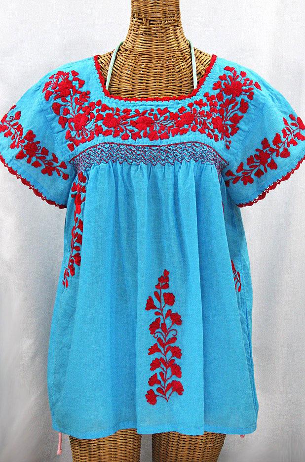 """La Marina Corta"" Embroidered Mexican Peasant Blouse - Aqua + Red"