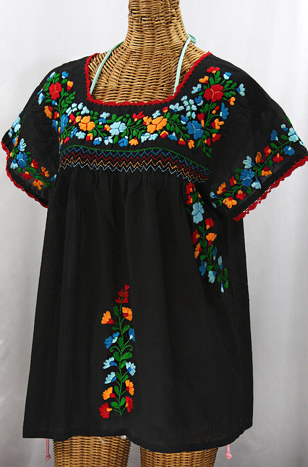 """La Marina Corta"" Embroidered Mexican Peasant Blouse - Black + Fiesta"