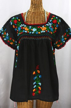 """""""La Marina Corta"""" Embroidered Mexican Peasant Blouse - Black + Fiesta"""