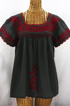 """La Marina Corta"" Embroidered Mexican Peasant Blouse - Charcoal + Maroon"