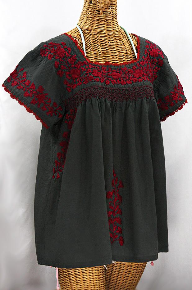 """La Marina Corta"" Embroidered Mexican Peasant Blouse - Charcoal + Maroon"