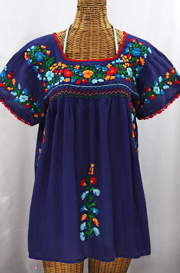 """""""La Marina Corta"""" Embroidered Mexican Peasant Blouse - Denim + Fiesta"""